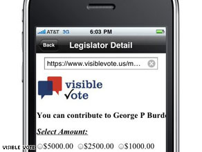 Campaign donations Visible Vote can now be made on an iPhone.