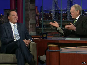 Romney appeared on The Late Show with David Letterman Tuesday.