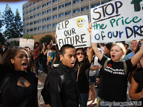 UCLA students and supporters protest as the UC Board of Regents votes to approve a 32 percent tuition hike next year on November 19, 2009 in Los Angeles, California.