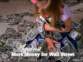 A new Blanche Lincoln ad features a classroom of small children playing with paper money.
