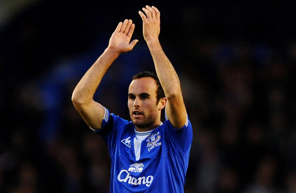 Landon Donovan celebrates scoring Everton&#039;s fourth goal in a 5-1 rout of Premier League opponents Hull. The American became a firm favorite with the fans during his short stay.