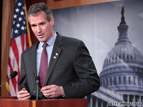  Despite the fact he opposes the bill, Republican Sen. Scott Brown took to the Senate floor Tuesday to announce he would vote to end a Republican filibuster on a bill extending unemployment benefits and tax credits.