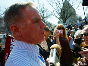 Former presidential hopeful and former Democratic National Committee Chairman Howard Dean spoke with reporters Tuesday after participating in a protest about health care reform.