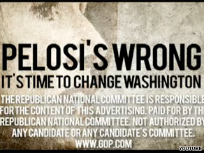 In a new TV ad, the RNC blames House Speaker Nancy Pelosi for recent ethical problems dogging congressional Democrats.