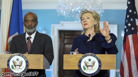 US Secretary of State Hillary Clinton makes remarks with Haitian President Rene Preval at the State Department in Washington DC. Preval visits Washington to lobby for support following January&#039;s massive earthquake.