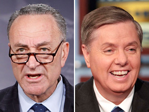 Sens. Chuck Schumer (left) and Lindsey Graham (right) are scheduled to meet with President Obama Thursday to discuss immigration reform.