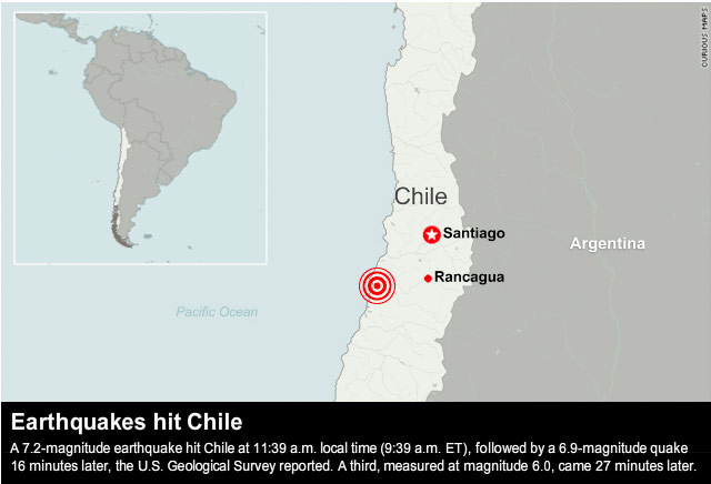 Three strong earthquakes strike chile in quick succession cnn video chiles transition of power measuring earthquakes gumiabroncs Images