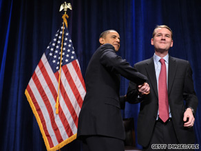 Sen. Michael Bennet at a fundraising event with President Obama in February.
