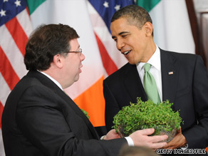 President Obama and Irish Prime Minister Brian Cowen take part in a Shamrock Ceremony March 17, 2009.