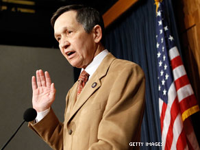 Rep. Dennis Kucinich announces he will support the health care reform bill.