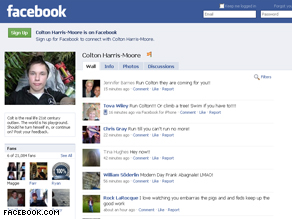 A Facebook fan page for Colton Harris-Moore. He is suspected of stealing planes, boats, and luxury automobiles.