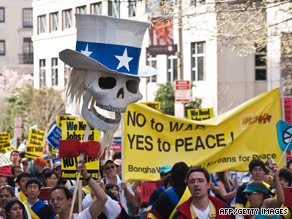 Anti-war protesters took to the streets of Washington on Saturday.