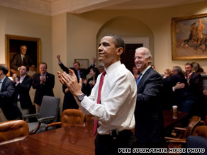 The president was joined by Vice President Biden and senior staff in the White House Sunday night as the health care reform bill passed in the House.