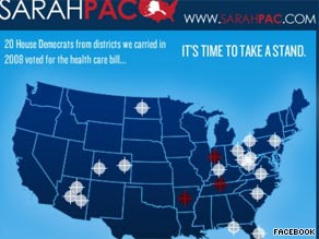 An image on Sarah Palin&#039;s Facebook page featuring crosshairs on certain Democratic districts is causing an uproar .