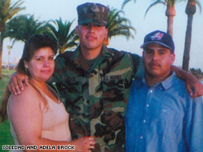 Soledad Brock with her two sons, Ronald Brock and Angel  Candia.