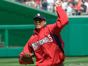 President Obama threw out the first pitch Monday at the Washington Nationals' home opener.