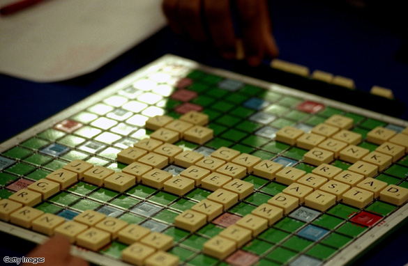 A game of Scrabble in progress during the Mind Sports Olympiad at Olympia in London.
