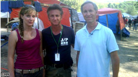 AC360° producer Justine Redman, Sean Penn and AC360° Gary Tuchman in Haiti.