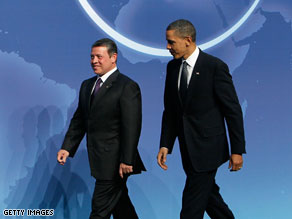 President Obama walks with King Abdullah II of Jordan on Monday at the nuclear security summit in Washington.
