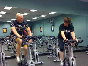 Fit Nation Challenge participant Linda Fisher-Lewis and her trainer Richard Earle exercise together.