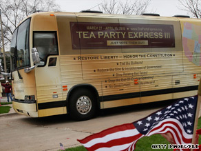 CNN's Shannon Travis perched himself in the 'sidekick' seat of a Tea Party Express bus.