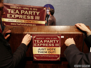 Leaders of the Tea Party Express marked Tax Day Thursday by celebrating their efforts over the last year and unveiling a list of 'heroes' and 'targets' ahead of the upcoming midterm elections.
