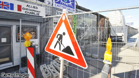 A 'Man Working' sign.