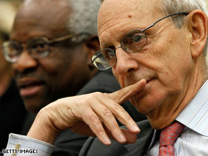 Justices Clarence Thomas and Stephen Breyer testified before a congressional budget hearing Tuesday.