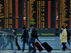 Passengers in Paris, France face the same problems as world leaders hoping to travel Saturday to the funeral of the late Polish President.