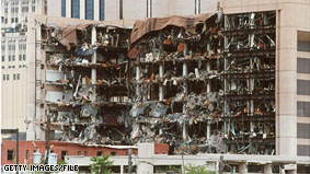 The Alfred P. Murrah Federal Building in Oklahoma City, OK after the bomb explosion 15 years ago.