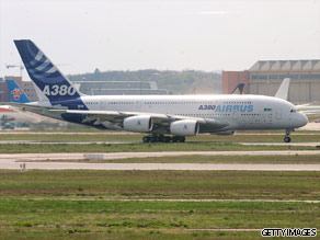 An Airbus A380 is seen on the ground after a test flight.