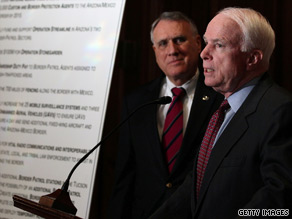 Arizona Sens. John McCain and Jon Kyl called Monday for the immediate deployment of 3,000 National Guard troops to the state's border with Mexico.