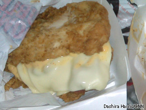 KFC&#039;s Double Down sandwich is two pieces of chicken, two slices of cheese and two strips of bacon - without a bun.