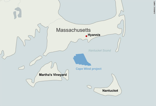 Nineyear Wind Farm Fight Splits Cape Cod CNNcom - Cape cod location us map