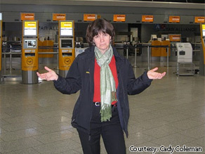Astronaut Cady Coleman stranded at an empty airport terminal in Frankfurt, Germany.