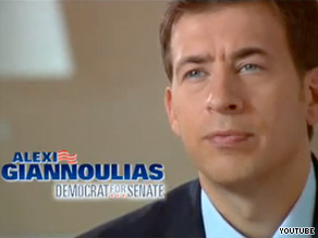 Illinois Treasurer Alexi Giannoulias is up Monday with his first television commercial in the battle for President Obama's old Senate seat.