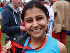 Krsna Harilela at the end of the London marathon.