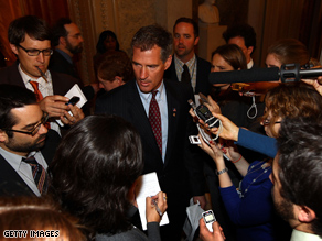 Sen. Scott Brown (R-MA) talks with reporters after a vote on financial reform. Senate Democrats failed to bring legislation to the floor for debate in a 57-41 vote, unable to gain the 60 votes needed to overcome the threat of a Republican filibuster.