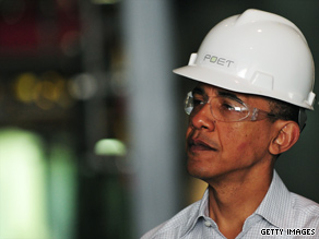 President Barack Obama donned a hard hat and goggles Wednesday to tour an ethanol plant in Missouri, then touted biofuel production and other alternative energy sources to free the United States from dependence on foreign oil.