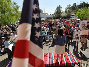 Demonstrators in Tuscon, Arizona, attend a rally organized by Rep. Raul Grijalva, D-Arizona, to denounce Arizona&#039;s new immigration law.