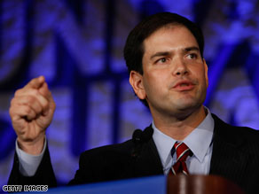 Marco Rubio reacted Thursday to Gov. Charlie Crist&#039;s decision to leave the GOP senate primary and run as an independent.