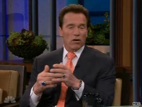 California Gov. Arnold Schwarzenegger appeared on the Tonight Show with Jay Leno Thursday.