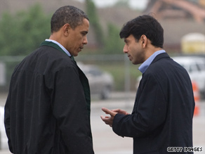 Upon touching down in the Gulf Coast region Sunday afternoon, the president spoke briefly with Louisiana's Republican Gov. Bobby Jindal before the two men headed off to Venice, Louisiana.