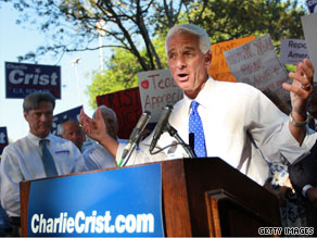 Gov. Crist was surrounded by supporters last week as he announced that he will skip the Republican Senate primary and run as an unaffiliated candidate in November's election.