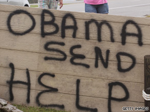 Louisiana residents placed this sign near the President Obama's motorcade route when he traveled to the Gulf coast.