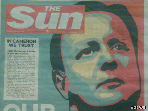 The Sun, a Fleet Street newspaper, has borrowed the iconic Barack Obama &#039;Hope&#039; campaign poster to endorse Conservative David Cameron.