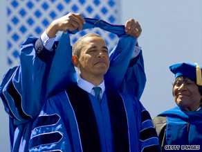 President Obama received an honorary Doctor of Laws degree after giving the commencement address Saturday at Hampton University.