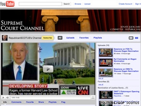 Republicans on the Senate Judiciary Committee launched a YouTube channel Monday to act as a 'hub of information' for the hearings of Supreme Court nominee Elena Kagan.
