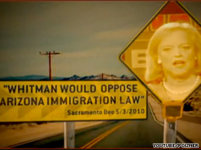 GOP gubernatorial contender Steve Poizner accuses his rival, Meg Whitman of siding with President Obama on immigration in a new ad.