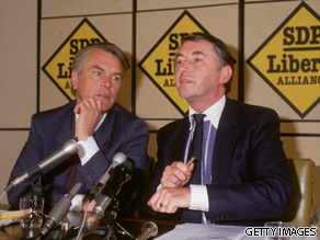 David Owen and David Steel are seen here in 1987.